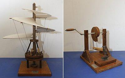 Projetos de helicóptero e mecanismo de transmissão de força desenhados por Da Vinci e criados por Thales