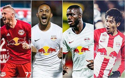 Jogadores das franquias da Red Bull: Danny Royer (New York), Ytalo (Bragantino), Upamecano (Leipzig) e Okugawa (Salzburg)