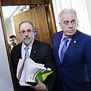 O subprocurador Augusto Aras na chegada à CCJ do Senado para sabatina