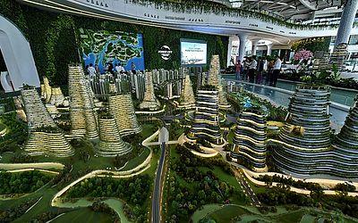 Projeto arquitetônico para uma das ilhas artificiais da Malásia, os estreitos de Johor. -Forest Cit.