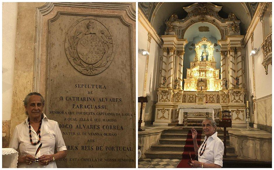 Maria Bethânia visita Igreja de Nossa Senhora da Graça, em Salvador