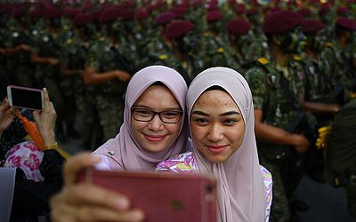 Ensaios do desfile do dia nacional em Putrajaya, em  Kuala Lumpur, na Malásia que vai comemorar dia 31 de agosta sua independência do domínio britânico.