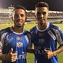 Flávio e Fernando juntos em um jogo beneficente na Vila Belmiro, em dezembro de 2018