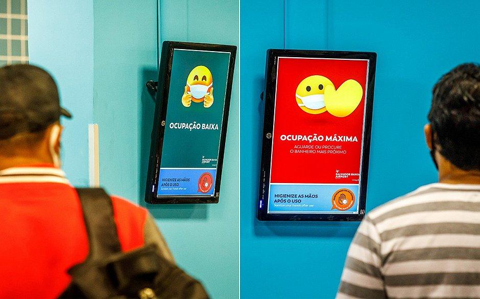 Aeroporto de Salvador lança tecnologia para evitar aglomeração nos banheiros