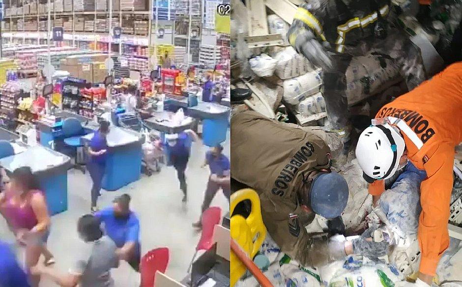 Prateleiras de supermercado desabam e deixam um morto no Maranhão; veja vídeo