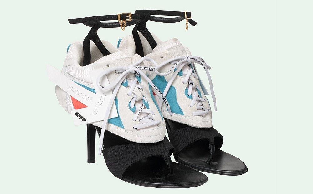 15fb0ad48e O sapato tem partes de uma sandália de salto e de um tênis de corrida  (Foto  Off-White Reprodução)