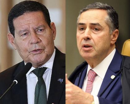 Alvo de Bolsonaro, Barroso se reúne com Mourão para discutir 'risco de ruptura'
