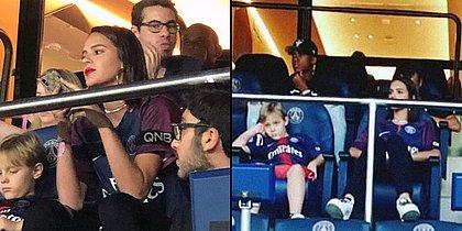 Bruna Marquezine assiste a jogo de Neymar ao lado de Davi Lucca