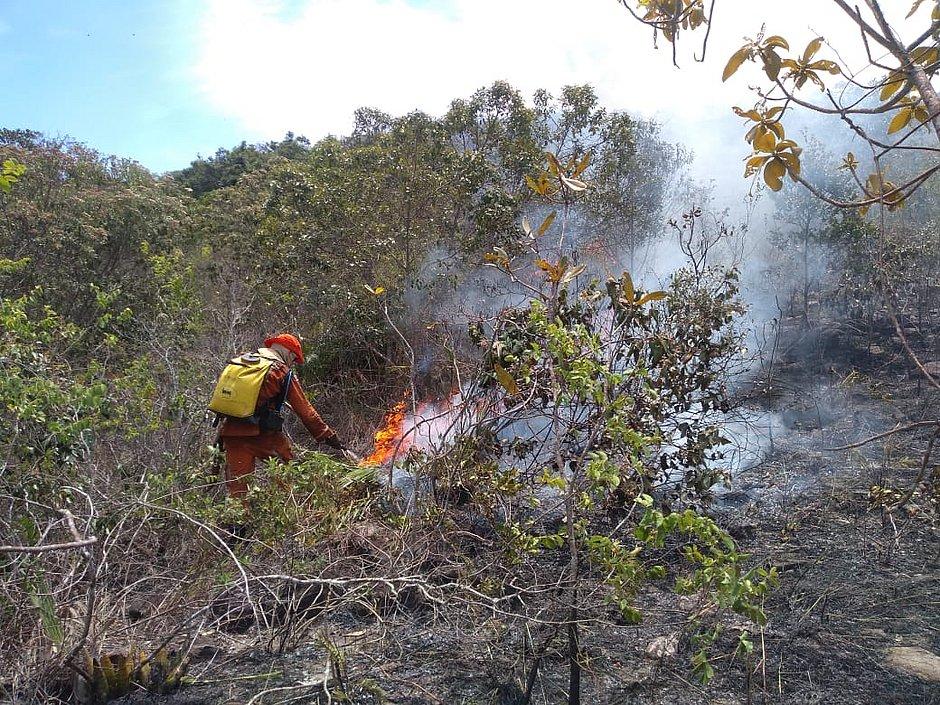 Chapada: bombeiros monitoram área da Cachoeira do Mosquito após incêndio
