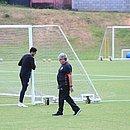 Geninho e o goleiro Ronaldo na Toca do Leão