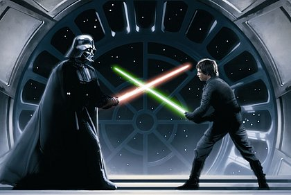 Numa das cenas mais icônicas da cultura pop, Luke Skywalker enfrenta seu pai, o vilão Darth Vader