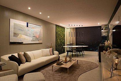 """O projeto é inspirado no tema da mostra """"Casa Viva"""", trazendo para o interior uma parede verde"""