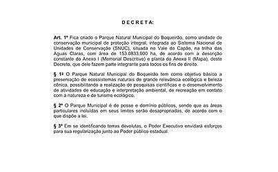 Decreto Nº 224, de 11 de maio de 2015, cria o Parque Natural Municipal do Boqueirão