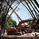 Máquinas trabalham na remoção de parte dos arbustos