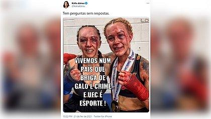 Kátia Abreu compara MMA com rinha de galo e condena legalização do esporte