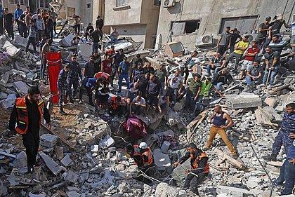 Prédio em Gaza foi atingido por bombardeio de Israel