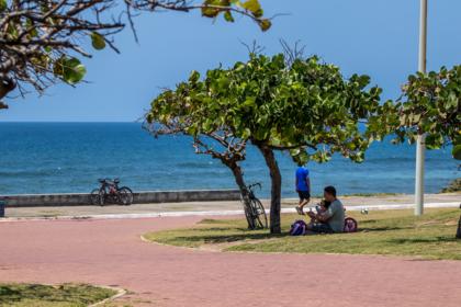 Fugindo do sol, homem descansa com menininha embaixo de uma árvore neste domingo