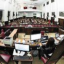 Salão do júri do Fórum Ruy Barbosa no dia do julgamento