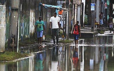 Alagamento no bairro de São Cristóvão.