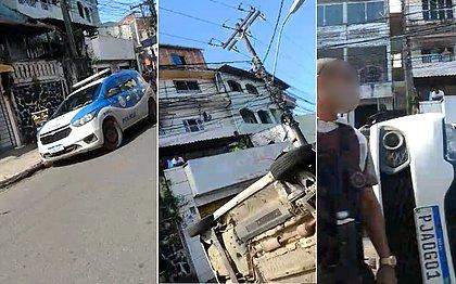 Homem capota carro roubado e é preso pela polícia na Liberdade