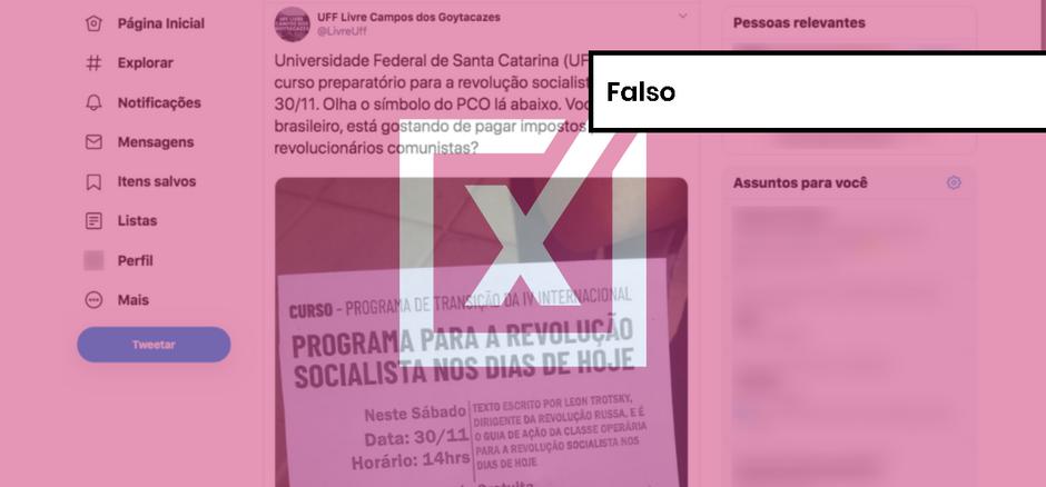 Curso sobre revolução socialista na UFSC não foi bancado com dinheiro público