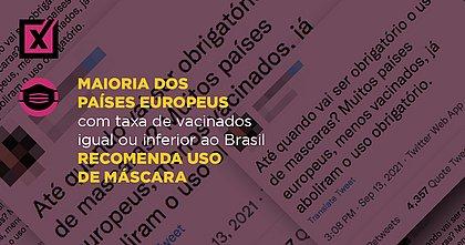 Maioria dos países europeus com taxa de vacinados igual ou inferior ao Brasil recomenda uso de máscara