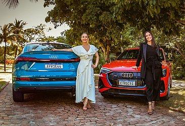 Claudia Leitte e Ivete Sangalo com as duas opções do E-Tron