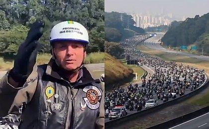 Acompanhado de apoiadores, Bolsonaro sai em motociata em São Paulo