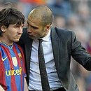 Messi e Guardiola na época do Barcelona