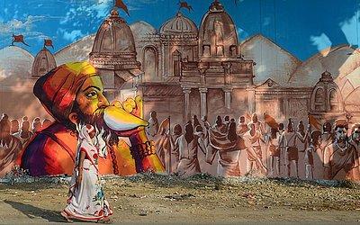 Mural na prisão central de Naini, parte do projeto em andamento 'pintar minha cidade' para o próximo festival de Kumbh Mela, em Allahabad.