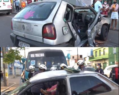 Acidente no Largo de Roma deixa dois feridos; Veja vídeo