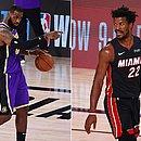 LeBron, astro dos Lakers, e Jimmy Butler, do Heat: finais começarão na quarta (30)