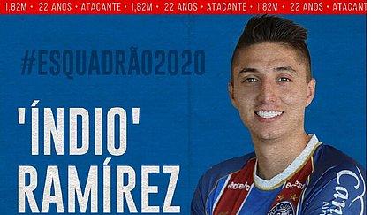Juan Pablo Ramírez pode estrear pelo Bahia na partida contra o Bragantino, sexta-feira (20)