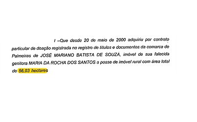 José Mariano doa 56 hectares de terra pública para a prima