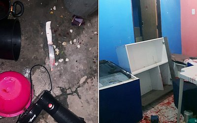 Faca que teria sido usada no crime; casa foi encontrada revirada