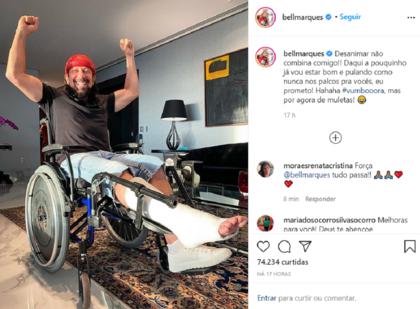 Bell Marques sofre acidente jogando tênis e passará por cirurgia