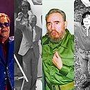 Papa João Paulo II, Elthon John, Nelson Mandela, Fidel Castro, Michael Jackson e Paul McCartney