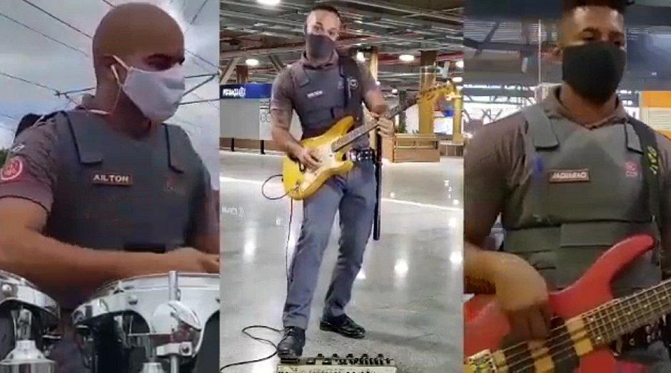 Funcionários do metrô fazem homenagem ao Dia Mundial do Rock