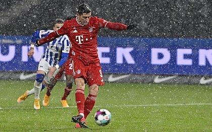 Lewandowski, durante a partida do Bayern contra o Hertha Berlim