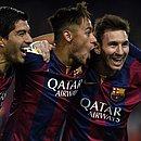 Suárez, Neymar e Messi em 2015, quando atuavam juntos no Barcelona