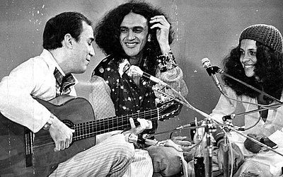 João Gilberto, Caetano Veloso e Gal em programa da extinta TV Tupi, em 1971