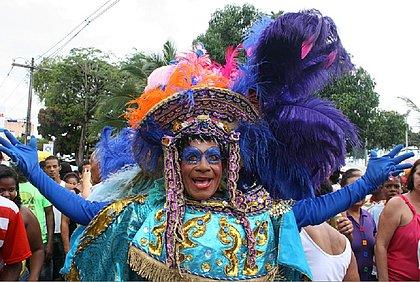 Folião com fantasia bem colorida e emplumada na Mudança do Garcia, em 2009