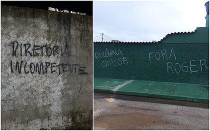 Mensagens foram deixadas em muros nos arredores da Cidade Tricolor, CT do Bahia