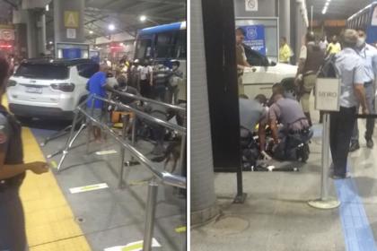 Carro invade terminal de ônibus da Estação Mussurunga e atropela duas pessoas