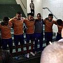 Elenco do Bahia reunido no túnel da Fonte Nova antes de uma partida