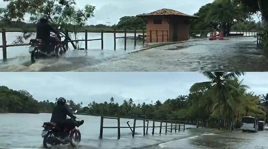 Chuva no Litoral Norte transborda lagoa e deixa moradores ilhados; veja vídeos