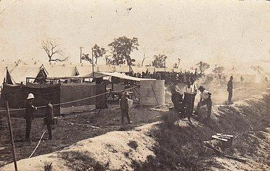 Quarentena para soldados retornando de campos de guerra da Primeira Guerra Mundial antes de serem reinseridos na Austrália, em 1919