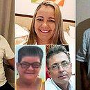 Mortos no acidente: Jânio, motorista do micro-ônibus (de óculos), Carla, 45, Eulália, 66, José Mário, 55, e Benício Guedes, 76 (boné)