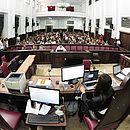 Salão do Júri do Fórum Ruy Barbosa no segundo dia do julgamento de Kátia Vargas