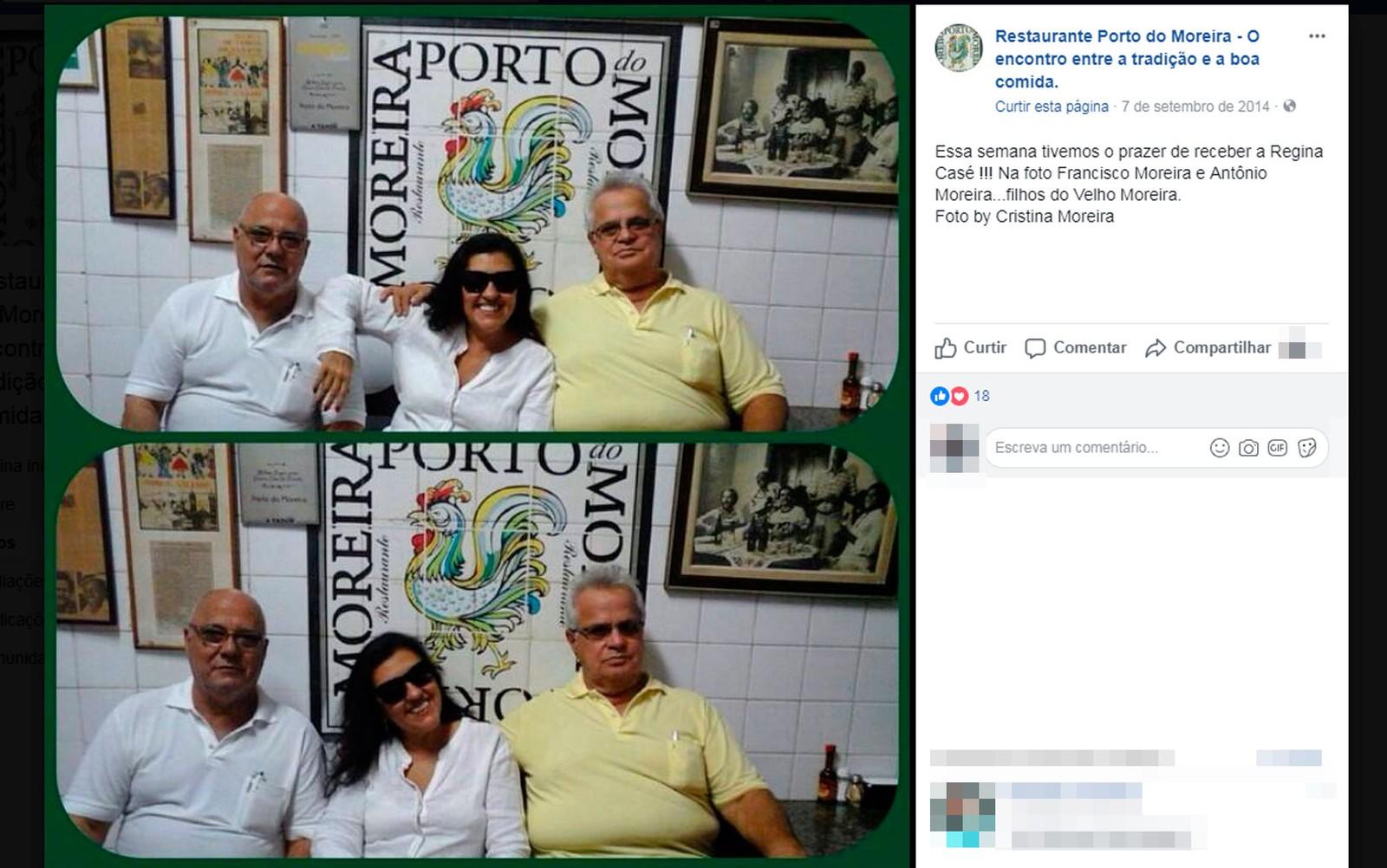 A atriz Regina Casé entre os irmãos Francisco e Antônio Moreira